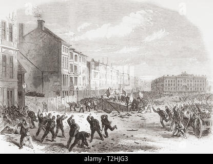 The election riot in the Great Market Square, Nottingham, England, 1865.  Due to an absence of deterrents, electoral rioting increased through the centuries along with bribery and corruption.  From The Illustrated London News, published 1865. - Stock Image