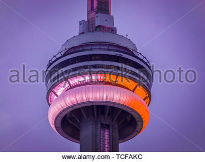 Toronto, Canada, CN tower or Canadian National tower lit in red and white during the Canada's Day Celebrations - Stock Image