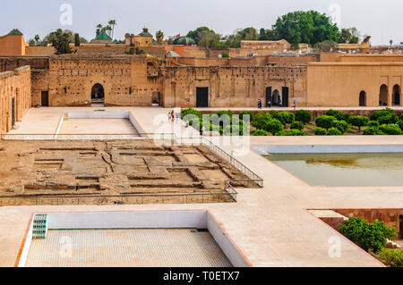 Overhead view of Badi Palace in the Medina of Marrakech, Morocco - Stock Image