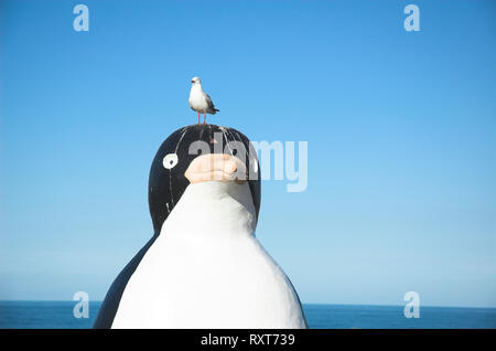 The big Penguin, at the town of Penguin on the North West coast of Tasmania, suffering the effects of seagull visitors. - Stock Image