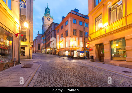Church of St Nicholas, Stockholm Cathedral or Storkyrkan at night, Gamla Stan in Old Town of Stockholm, the capital of Sweden - Stock Image