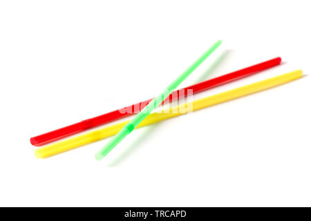 Several colorful drinking straws isolated on white background. - Stock Image