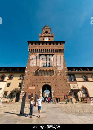 Vertical view inside Sforza castle in Milan, Italy. - Stock Image