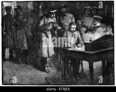 Alexander of Battenburg, Prince Alexander of Bulgaria, forced to sign his abdication letter by his own officers, - Stock Image