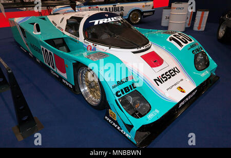 Three-quarter view of an Ex-Nisseki Trust  Racing, 1988, Porsche 962C, on display at the 2018 Classic Car Show, ExCel, London - Stock Image