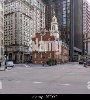 The Old State House, Boston. The historic site of the Declaration of Independence being read from the balcony in 1776. - Stock Image