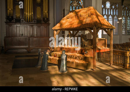 Thaxted Church, Thaxted Essex. January 2019. Three Kings or wise men at the Nativity. Melchior also Melichior), a Persian scholar; Caspar also Gaspar, - Stock Image