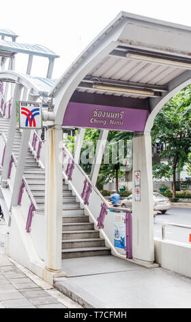 Bangkok, Thailand - 4th August 2017: Stairs to Chong Nonsi BTS station. The skytrain is an integral part of the public transport system. - Stock Image
