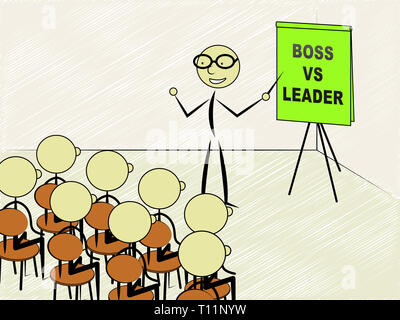 Boss Vs Leader Teacher Means Leading A Team Better Than Managing. Encouraging Confident Strategy And Strong Concepts 3d Illustration - Stock Image
