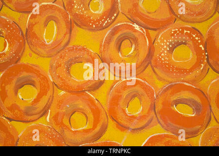 Painting of bagels on a glass window surface - Stock Image