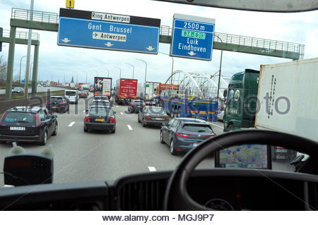 Traffic congestion on the Antwerp ring road (R1), as seen from a UK right hand drive lorry. Antwerp, Belgium. - Stock Image
