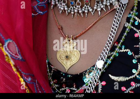 Rabari tribal woman with necklace - Stock Image