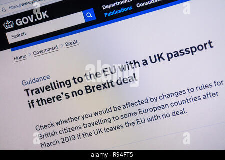 Computer screenshot of the gov.uk website showing advice about travelling to the EU with a UK passport if there is no Brexit deal - Stock Image