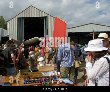 Woodbridge Maritime festival viking stalls and visitors - Stock Image