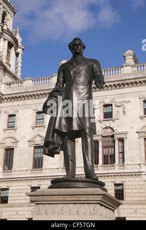 Statue of Viscount Palmerston Parliament Square Westminster London - Stock Image