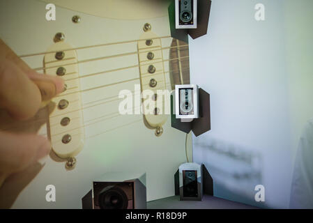 A New Musical Experience is an audio-visual installation proposing a new way to listen to music in the near future in Sony Square Shibuya Project showroom in Tokyo, Japan, in October 2018 - Stock Image