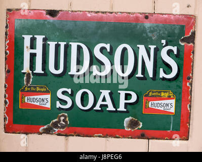 Old metal advertisement for HUDSON'S SOAP in the UK - Stock Image