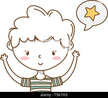 Stylish boy blushing cartoon outfit stripped tshirt speech bubble star hands up portrait  vector illustration graphic design - Stock Image