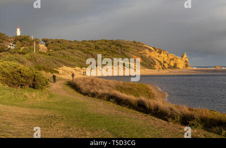 View of Aireys Inlet Lighthouse along the Great Ocean Road, Victoria, Australia just before sunset - Stock Image