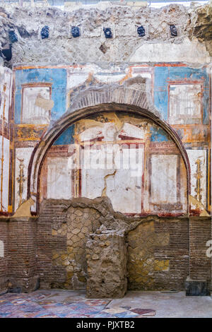 Remains Of Wall Paintings Herculaneum Campania Italy - Stock Image