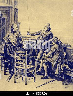 Johann Gottfried Herder, Heinrich Lenz - Jung Stilling, Johann Wolfgang von Goethe, Christian Gotthilf Salzmann, - Stock Image