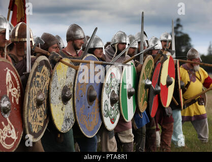 Vikings formed in to a  shield wall - Stock Image