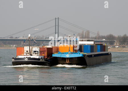Joline 1 container barge, river Rhine, Dusseldorf, Germany. - Stock Image