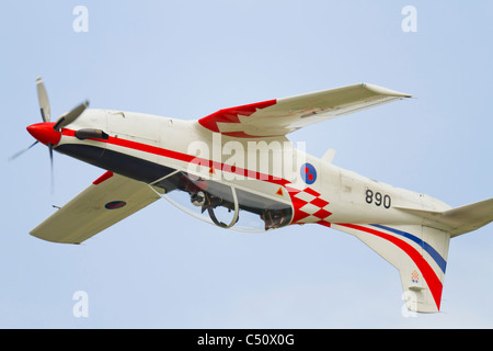 'Wings of storm' (Krila oluje), one of Croatian air force aerobatic team aircraft is flying inverted - Stock Image