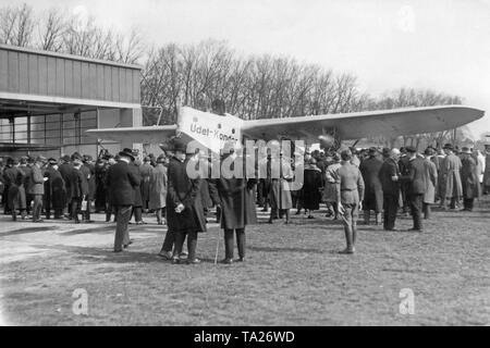 Lufthansa board member Erhard Milch welcomes representatives of the press, who had come to the presentation of the Udet U11 Kondor at Tempelhof Airport. The  underpowered engine with bad design never got into the regular liner service of the Lufthansa, but it was the first four-engine model of the fleet. - Stock Image