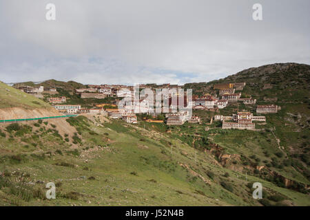 Complete landscape of Ganden Monastery and surrounding area shot on overcast day in 2007 - Stock Image