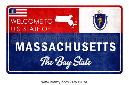 Welcome to Massachusetts - grunde sign - Stock Image