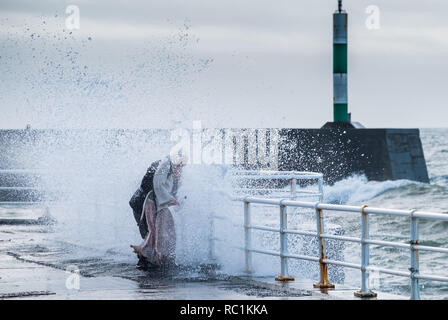 Aberystwyth Wales UK, 13 Jan 2019 UK Weather: A blustery day in Aberystwyth on the west wales coastline, with winds gusting up to gale force at times. People get soaked by the spray as  huge waves crash into the seafront  promenade at high tide .  photo credit: Keith Morris / Alamy Live News - Stock Image