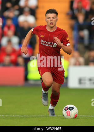 Prenton Park, Birkenhead, Wirral, UK. 11th July 2019. Pre-season friendly football, Tranmere versus Liverpool; Bobby Duncan of Liverpool races forward over the half way line with the ball Credit: Action Plus Sports Images/Alamy Live News - Stock Image