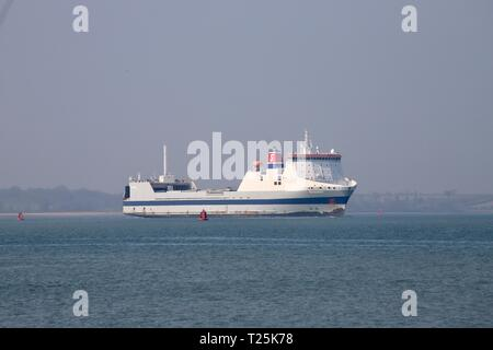 Cargo Ro Ro vessel the Somerset leaving Felixstowe for Rotterdam. Port of Felixstowe, Suffolk, UK. 29th March 2019. - Stock Image