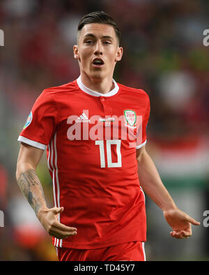 Wales' Harry Wilson during the UEFA Euro 2020 Qualifying, Group E match at the Groupama Arena, Budapest. - Stock Image