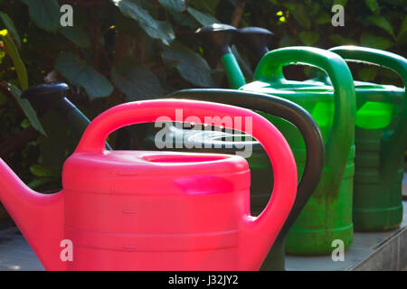 Four empty watering cans or pots in red and green waiting in the sun to be used, dark  background, symbol for garden - Stock Image