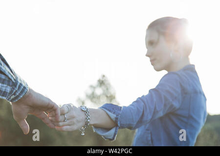 Caucasian woman with jean shirt - Stock Image