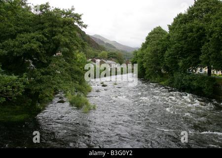 The Colwyn River at Beddgelert, Gwynedd, North Wales - Stock Image