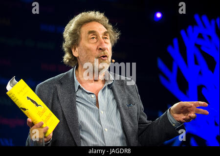 Howard Jacobson speaking about his writing on stage at Hay Festival 2017 Hay-on-Wye Powys Wales UK - Stock Image