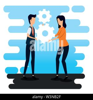 businessman and businesswoman teamwork with gears strategy - Stock Image