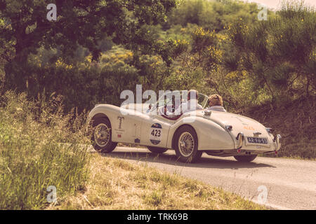 PESARO COLLE SAN BARTOLO , ITALY - MAY 17 - 2018 : JAGUAR XK 120 OTS 1954 old racing car in rally Mille Miglia 2018 the famous italian historical race - Stock Image