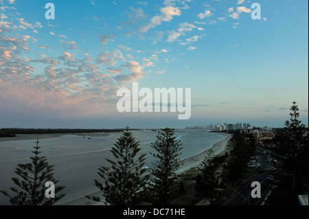 Looking south down the coast toward Surfers Paradise at dusk. Surfers Paradise, Queensland, Australia - Stock Image