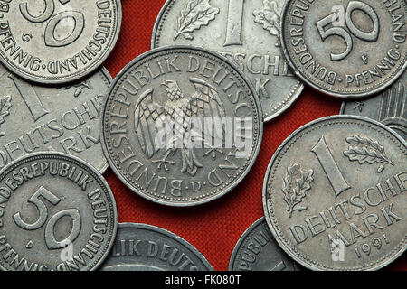Coins of Germany. German eagle depicted in the German one Deutsche Mark coin. - Stock Image