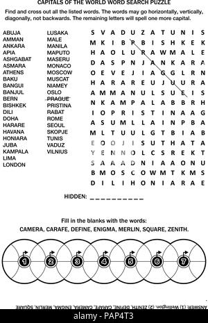 Puzzle page with two word games (English language). Capitals of the world word search puzzle. Common knowledge fill the wheels. Answer included. - Stock Image
