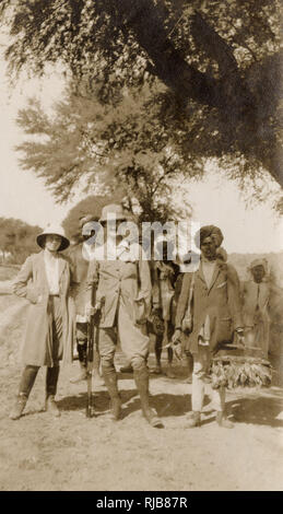 Colonial hunting group, India, including 'Eva and her fiancé', 2 February 1923. - Stock Image