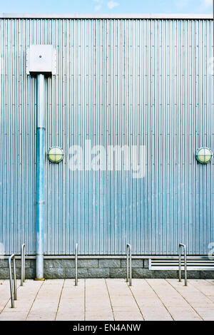 A corrugated metal wall on an industrial building - Stock Image