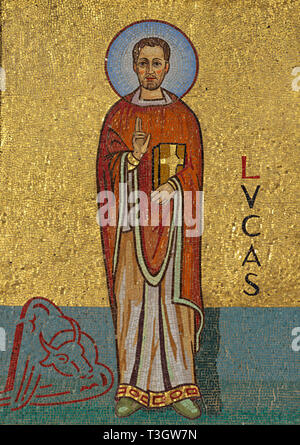 mosaic of Saint Lucas (St Luke) on the facade of a church - Stock Image