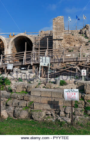 Caesarea Harbor Vaults Project restoration in progress 2018 - Stock Image