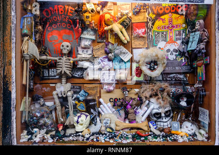 Reverend Zombie's House of Voodoo store window, voodoo dolls, religious artifacts, New Orleans French Quarter New Orleans, Louisiana, USA - Stock Image