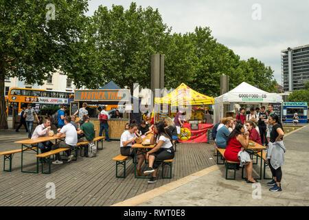 Street food stalls set up at Harbourside, Bristol, UK - Stock Image